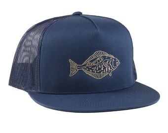 fc1494685a3ae HALIBUT Trucker Hat - Navy 5 Panel - Navy Mesh - Green Embroidery - Fish  slayer - lucky hat - flat fish - barreling wave - by uroko -limited