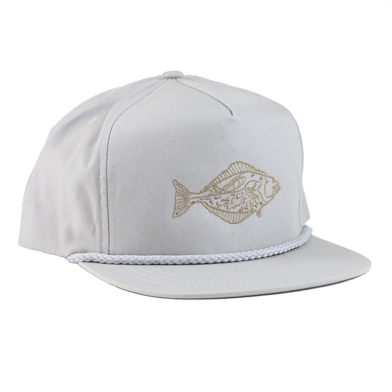 Halibut Admiral Hat  Light Grey Poplin  5 Panel Snapback  image 0