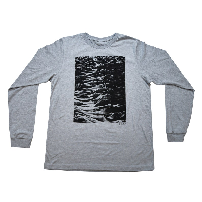 SEASIDE   Heather Grey Long Sleeve T-shirt  Water-based ink image 0