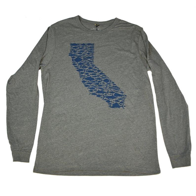 CALIFORNIA FISH LOVE  Heather Grey  Long Sleeve Tee  Salmon image 0