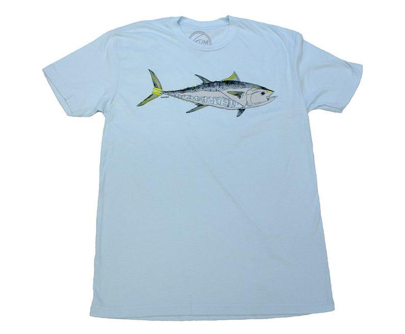 BLUE FIN TUNA  Light Blue T-shirt  water-based ink  Tuna  image 0