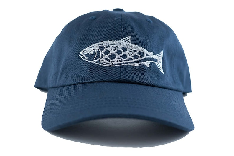 Salmon Dad Hat  Navy  Unstructured  100% Cotton  metal image 0