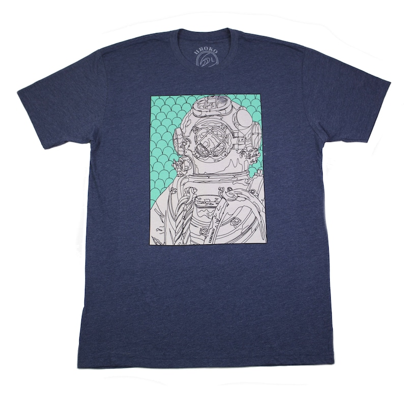 DIVER  Mens T-Shirt  Midnight Navy  Discharge Print  image 0