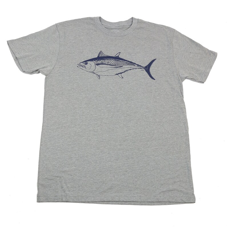 ALBACORE  Men's T-shirt  Dark Heather Grey T  Blue fish image 0