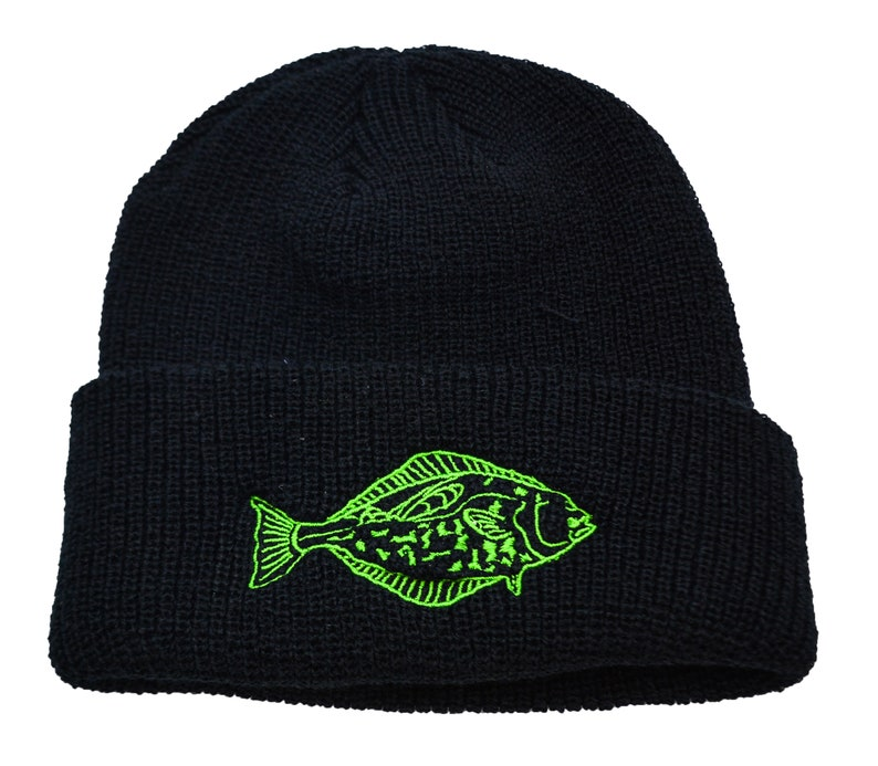 HALIBUT  Black  Cuffed Beanie  Green Embroidery  warm ears image 0