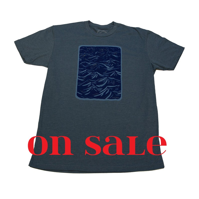 WIND CHOP  Indigo T-shirt  Mens  water-based ink  Wood Cut image 0