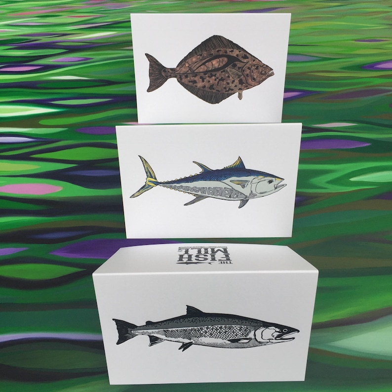 Greeting Cards  6 Pack  2 Coho  2 Halibut  2 Bluefin  image 0