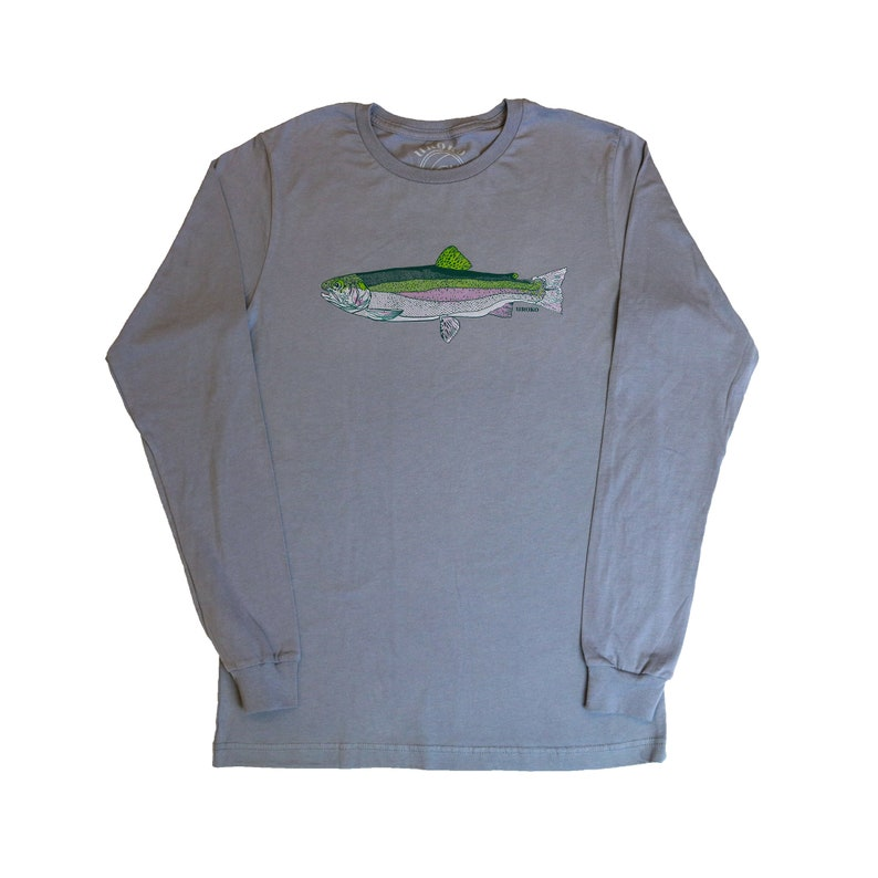 RAINBOW TROUT Long Sleeve Tee Matte Grey  Sierras  Fly image 0