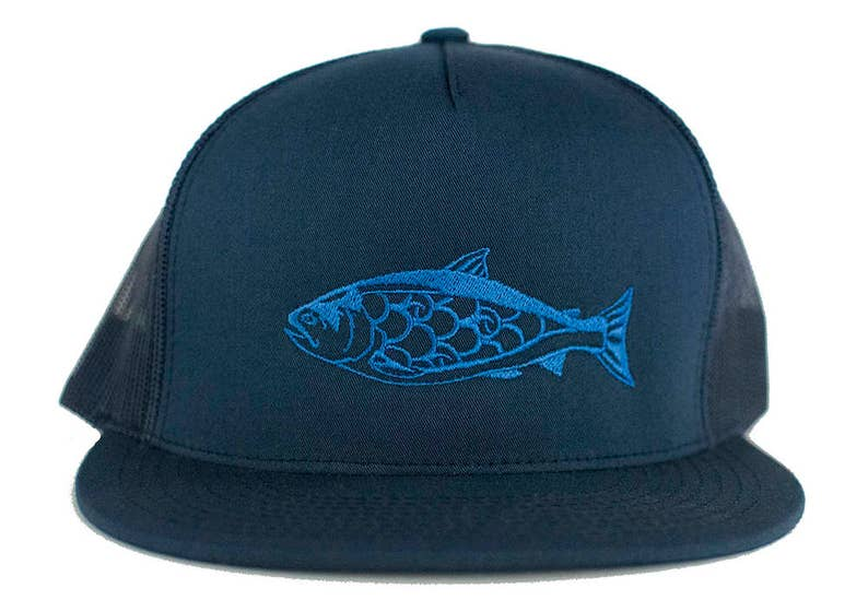 Salmon 5 Panel Trucker Hat Blue Embroidery on Navy Cap image 0