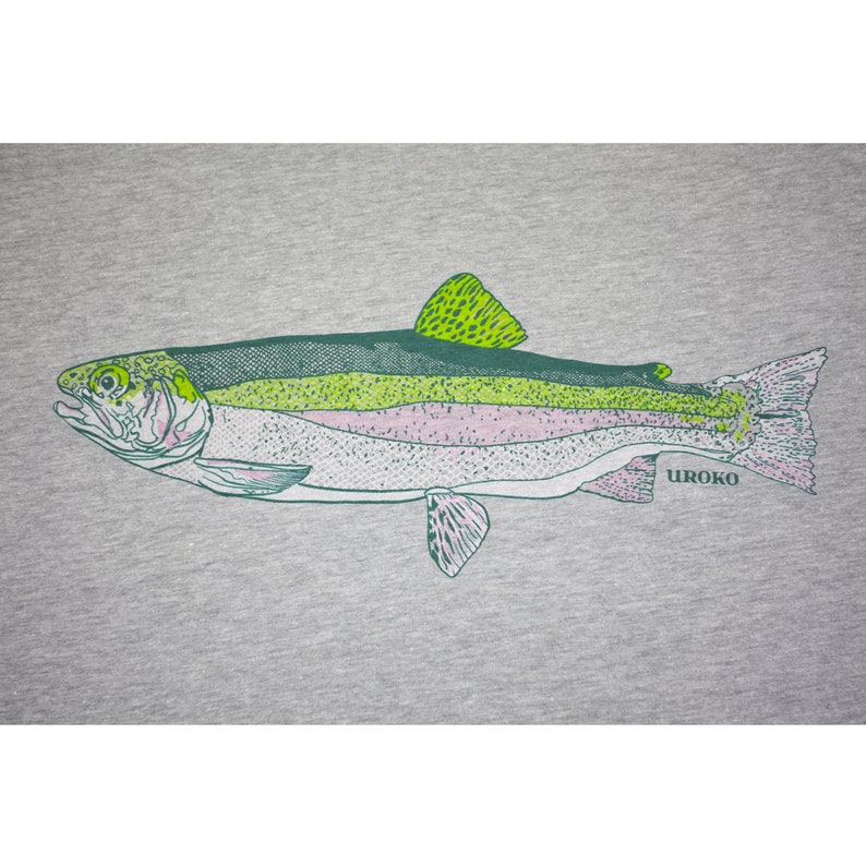 RAINBOW TROUT  Heather Grey  T-shirt  Tagless  Fishing  image 0