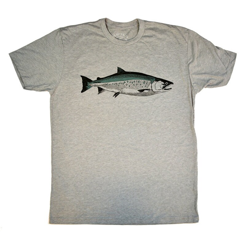 COHO SALMON  Heather Grey  T-shirt  Tagless  Fishing  image 0