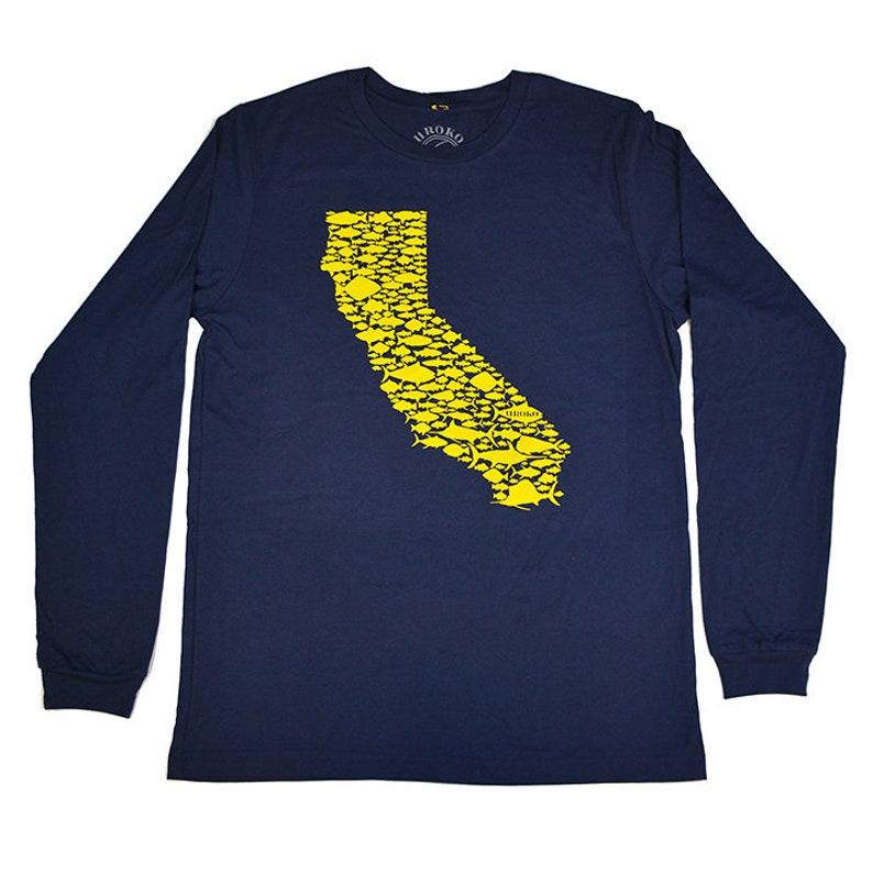 CALIFORNIA FISH LOVE  Navy  Long Sleeve Tee  Gold  Salmon image 0