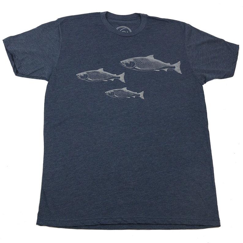 SALMON SPAWN  Men's T-shirt  Midnight Navy T  Salmon  image 0