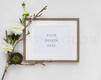Download Free Gold Frame Mockup with Flowers PSD Template