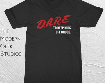 D.A.R.E. (Dare) Vintage 90's Logo Shirt - Screen Printed - Basic or Premium Shirt Options - Free Shipping - Retro 80s and 90s Vintage