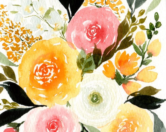 Rose and Ranunculas Flower Bouquet Original Watercolor Note Card