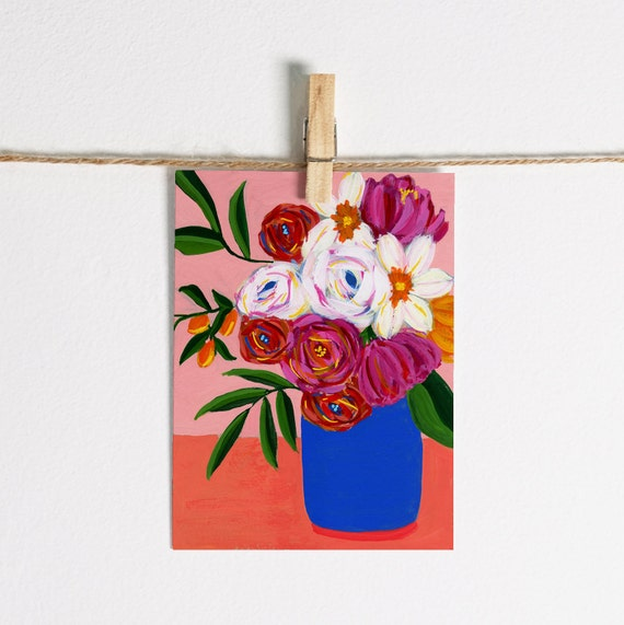 Abstract Spring Flowers in Vase - Single Note Card 4.5 x 5.25 size A2