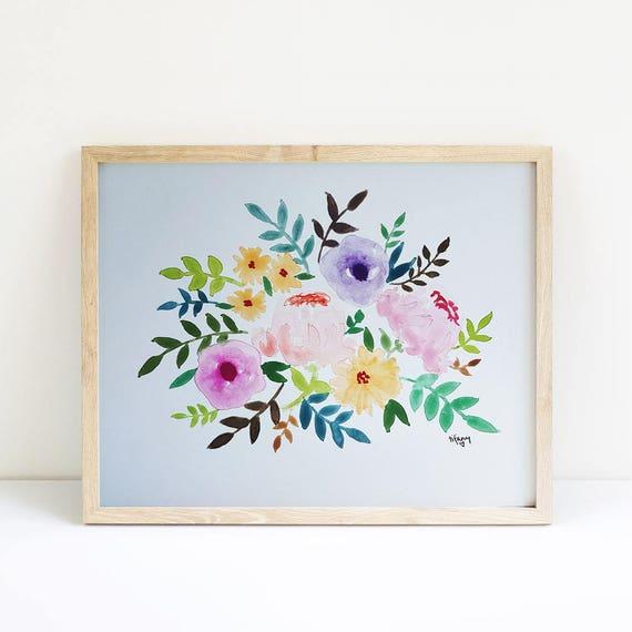 Watercolor flowers 5x7