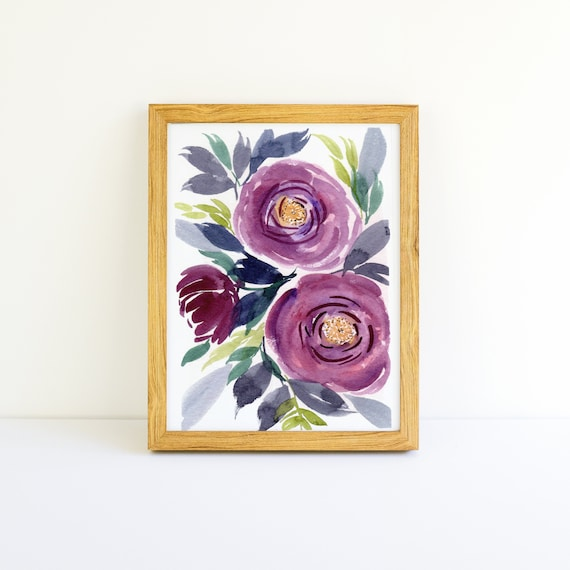 Purple Flowers in Watercolor 5x7