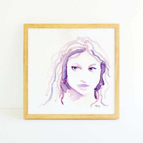 Abstract Purple Face of Woman in Watercolor 8x8