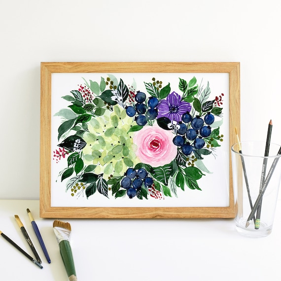 Blueberry and Flower Swag Bouquet in Watercolor 5x7