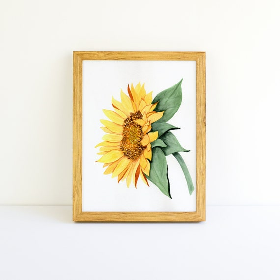 Large Sunny Side-facing Sunflower in Watercolor (11x11)