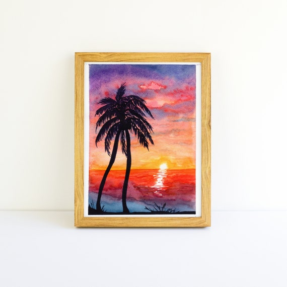 Palm Trees at Sunset Beach Watercolor Painting 5x7