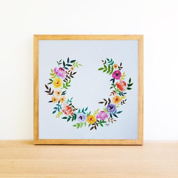 Horseshoe Flower Wreath in Watercolor Wreath 8x8