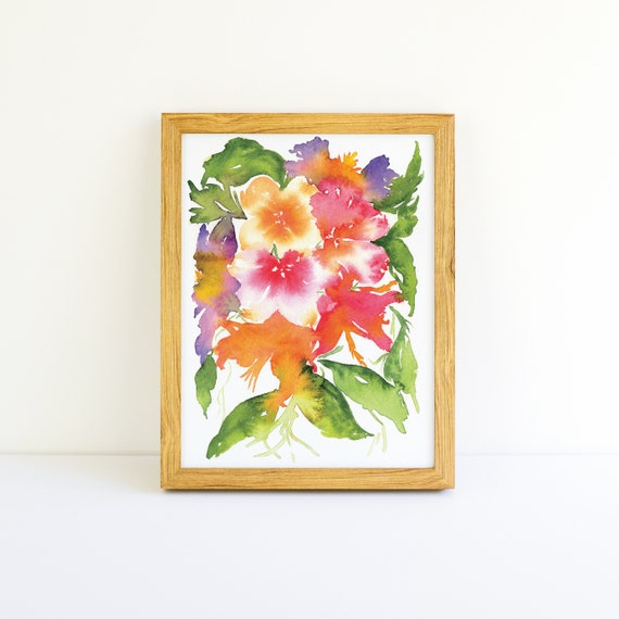 Tropical Explosion of Bright Flowers #1 in a Series in Watercolor 5x7