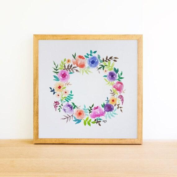 Watercolor Floral Wreath 6x6