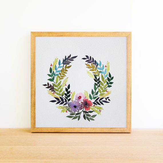 Horseshoe Holiday Wreath in Watercolor 6x6