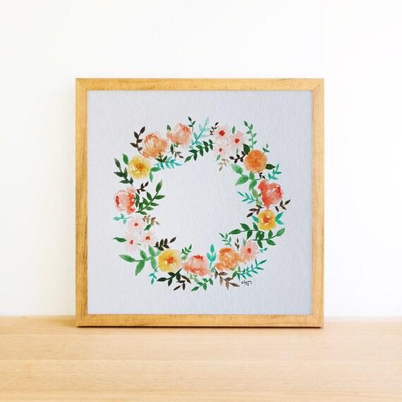 Watercolor Floral Wreath 8x8