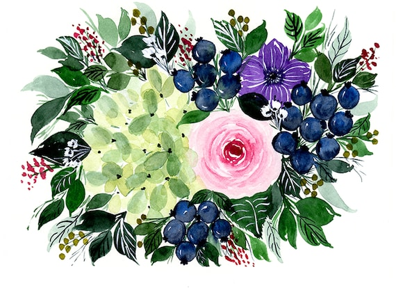 Blueberries and Flower Swag Bouquet Note Cards (set of 6)