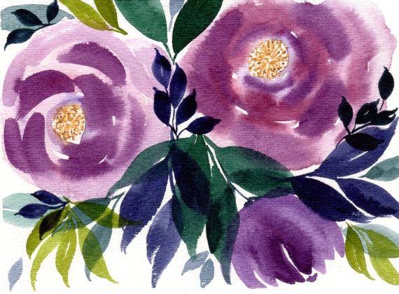 Purple Flower Note Cards (set of 6)