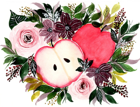 Apple and Roses Fall Note Cards (set of 6)