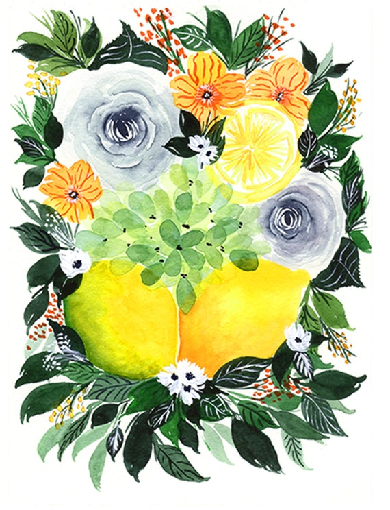 Lemons and Flower Swag Bouquet Note Cards (set of 6)