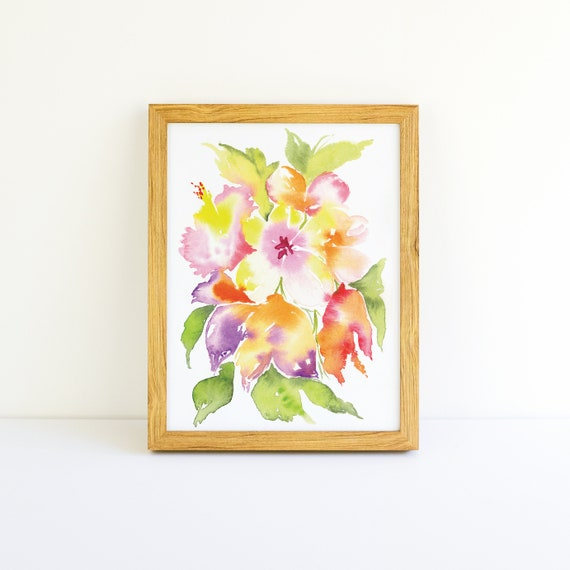 Tropical Explosion of Bright Flowers #5 in a Series in Watercolor 5x7