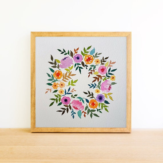 Flower Wreath in Watercolor 6x6