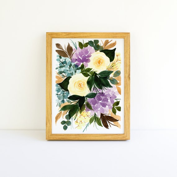 Golden Roses and Purple Hydrangea Flower Swag Bouquet in Watercolor 5x7