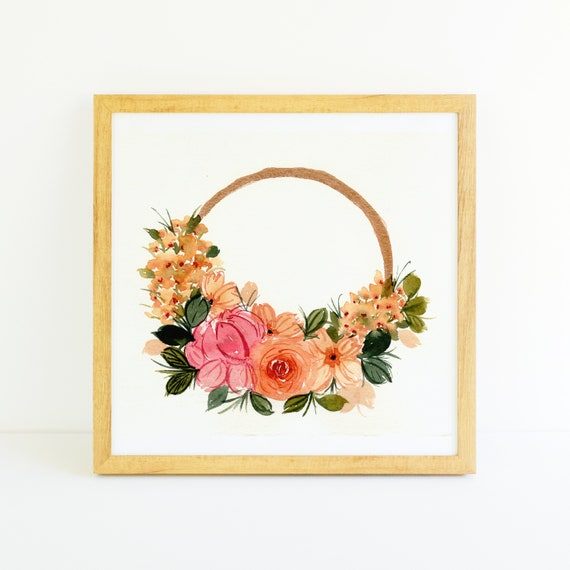 Peachy Pink Flowers and Rose Gold Ring Wreath in Watercolor 6 x 6