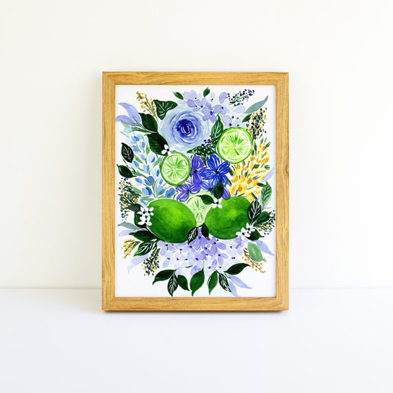 Limes and Flower Swag Mojito Bouquet in Watercolor 5x7