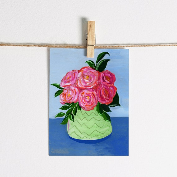 Pink and Red Roses in Green Vase - Single Note Card 4.5 x 5.25 size A2