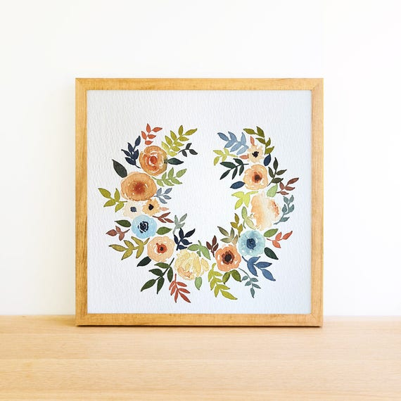 Horseshoe Flower Wreath in Watercolor 6x6