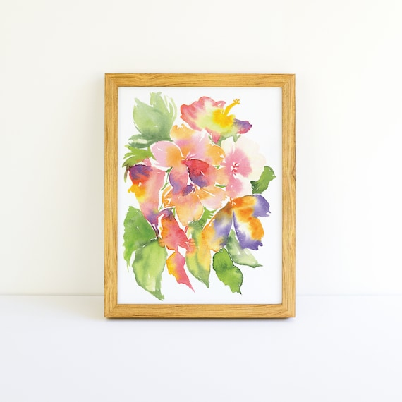 Tropical Explosion of Bright Flowers #2 in a Series in Watercolor 5x7