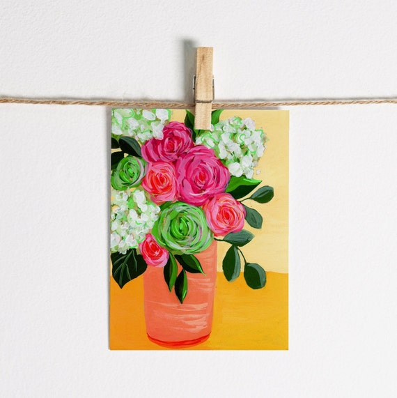 Pink and Red Roses with Green Hydrangeas in Vase - Single Note Card 4.5 x 5.25 size A2