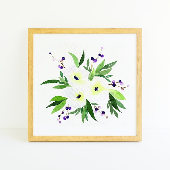 Trio of White Flowers Bouquet in Watercolor 6x6