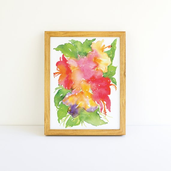 Tropical Explosion of Bright Flowers #6 in a Series in Watercolor 5x7