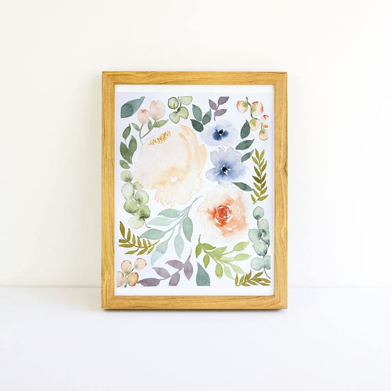 Vintage Bouquet of Flowers in Watercolor 8x10