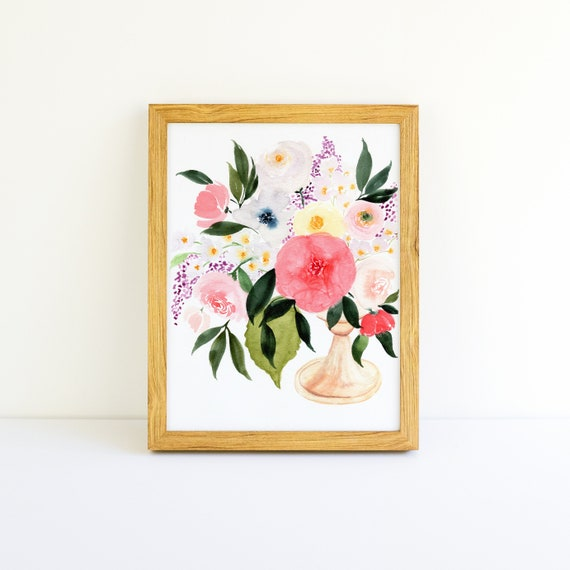 Floral Bouquet in Gold Vase Watercolor 8x10