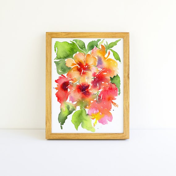 Tropical Explosion of Bright Flowers #3 in a Series in Watercolor 5x7